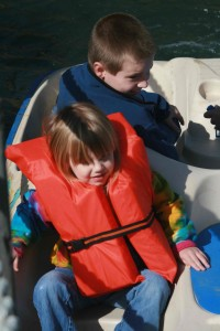Nick & Brenna in a paddle boat at the EnerNex Fall Party - Fall 2010