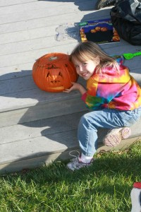 This is the pumpkin Brenna carved by herself for Halloween 2010.