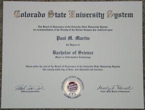 Colorado State University Diploma